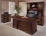 "DMI Governors Series 72"" Engraved Executive Mahogany Finish Laminate Office Desk w/ File Drawers (DMI-7350-36)"