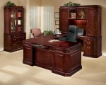 DMI Oxmoor Series U-Shaped Wood Veneer Executive Office Desk Merlot Cherry Finish (DMI-7376-5X)