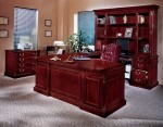 DMI Keswick Series Wood Veneer U-Shaped Executive Office Desk English Cherry Finish (DMI-7990-3X)