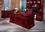 DMI Keswick Series Wood Veneer U-Shaped Bow Front Executive Office Desk English Cherry Finish (DMI-7990-3XB)