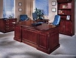 DMI Keswick Series Wood Veneer L-Shape Executive Desk English Cherry Finish (DMI-7990-5X)