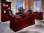 DMI Keswick Series Wood Veneer L-Shaped Bow Front Executive Office Desk English Cherry Finish (DMI-7990-5XB)