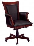 DMI Executive High Back Office Chair  w/ Wood Upholstered Arm In Black Leather