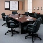 Global 10' x 4' Boat Shaped Laminate Boardroom Tables w/ Mahogany Finish