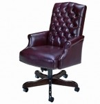 HPFI Traditional Computer Chair Brass Nail Head Trim 60+ Fabric/Leather Options
