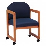 Lesro Classic Series Round Back Reception Chair w/ Casters Sled Base  (LS-C1301C3)