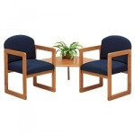 Lesro Classic Series 2 Round Back Chairs w/ Connecting Corner Table (LS-C2321G3)