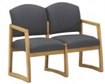 Lesro Chelsea Series 2 Seat Reception Chair w/ Solid Hardwood Construction (LS-K2301G3)
