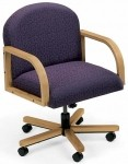 Lesro Contour Series Round Back Office Chair w/ Solid Oak Construction (LS-R1301X7)