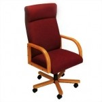 Lesro Contour Series High Back Office Chair w/ Solid Oak Construction (LS-R1601X7)