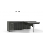 Mayline Aberdeen Series L-Shaped Office Desk With Free Standing Penninsula and Suspended Credenza File (MAY-AT11)