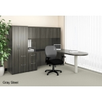 Mayline Aberdeen Series L-Shape Office Desk w/ Free Standing Penninsula Return, Hutch, Credenza, Suspended Credenza File and Personal Storage Tower (MAY-AT22)