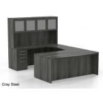Mayline Aberdeen Series U Shaped Bowfront Computer Desk w/ Hutch, Credenza and Two Suspended Pedestal Files  (MAY-AT5)