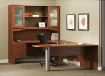 Mayline Brighton Series U-Shape Office Desk w/ Curved Bridge, Credenza Shell, Suspended Pedestal, and Hutch with Glass Doors (MAY-BT23)
