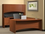 Mayline Brighton Series U-Shape Bow Front Office Desk w/ Suspended Pedestal, Credenza Shell, Curved Bridge, Fabric Tack Panel and Hutch (MAY-BT4)