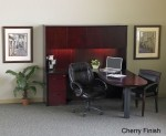 Mayline Corsica Series L-Shaped Office Desk w/ Credenza, Wood Door Hutch, Box Box File Pedestal and Center Drawer (MAY-CT19)