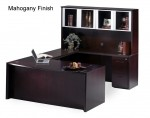 Mayline Corsica Series Bow Front Modern U-Shaped Office Desk w/ Universal Bridge, Credenza, Glass Doors Hutch, Box Box File Pedestal and File File Pedestal (MAY-CT5)