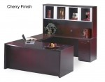 Mayline Corsica Series Bow Front U-Shaped Office Desk w/ Bridge, Credenza, Glass Doors Hutch, Box Box File Pedestal, File File Pedestal and Center Drawer (MAY-CT6)
