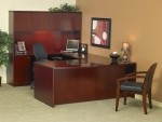 Mayline Luminary Series Executive U-Shaped Reeded Edge Bow Front Desk w/ Credenza, Hutch, Bridge and Two Pedestals (MAY-EU1)