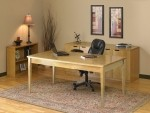 Mayline Luminary Series Executive Modern Table Desk w/ 4-Hinged Credenza and 2 Shelf Bookcase (MAY-LUM13)