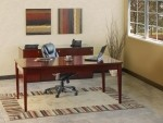 Mayline Luminary Series Executive Modern Table Desk w/ Pedestal 19 with Top BBF and 2-Drawer Lateral File (MAY-LUM14)