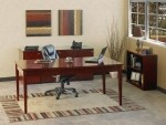 Mayline Luminary Series Wood Veneer Table Desk Suite