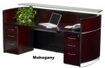 Mayline Napoli Series Reception Desk w/ Frosted Glass Transaction Counter (MAY-NRSBB)