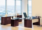 Mayline Napoli Series Modern Executive Desk w/ Curved Extension, Return w/ Pencil Box File, Center Drawer, Low Wall Cabinet and Lateral File (MAY-NT15)