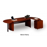 Mayline Napoli Series Curved Executive Desk System w/ Extension, Desk Return with Pencil Box File and Center Drawer (MAY-NT4)