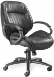 Ultimo Series 100 by Mayline Mid Back Executive Leather Chair w/ Padded Loop Arms (MAY-ULMGR)