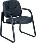 OFM Leather Guest Chair w/ Soft Foam-Padded Armrests (OFM-503L)