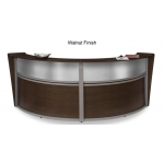 OFM Double Marque Plexi-Reception Station With Silver Frame and 3 Wood Finish Options