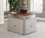 "OFM Rize Series 60"" x 48"" L-Shaped Reception Station w/ Cherry or Maple Top (OFM-PG297)"