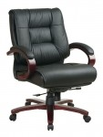 Office Star Mid Back Executive Leather Chair with Deluxe Locking Mid Pivot Knee Tilt and Mahogany Finish (OS-8501)