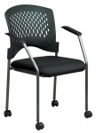 Office Star Titanium Finish Rolling Visitors Chair with Casters, Arms and Plastic Wrap Around Back (OS-8640)