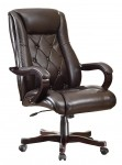 Office Star Espresso Eco Leather Executive Office Chair Wood Base