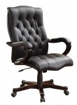 Office Star Black Eco Leather High Back Executive Computer Chair Wood Base