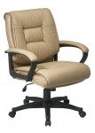Office Star Deluxe Mid Back Executive Leather Chair with Padded Loop Arms (OS-EX5161)