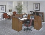 "Office Star Napa Series 72"" x 72"" Receptionist Desk w/ Two Pedestal Files (OS-NAPTYP19)"