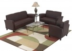 Office Star Eco Leather Cherry Finish Reception Area Set In Black, Wine or Mocha.