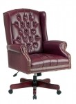 Office Star Deluxe High Back Traditional Executive Oxblood Vinyl Chair
