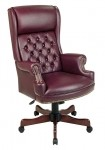 Office Star Deluxe Oxblood Vinyl High Back Traditional Executive Chair
