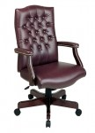 Office Star Oxblood Vinyl Traditional Executive Chair with Padded Arms (OS-TEX232)