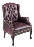 Office Star Traditional Queen Ann Style Oxblood Vinyl Chair