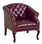 Office Star Traditional Ox Blood Vinyl Reception Lounge Chair w/ Mahogany Finish Legs