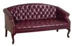 Office Star Traditional Ox Blood Vinyl Reception Sofa w/ Mahogany Finish