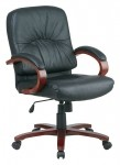 Office Star Leather Mid Back Chair with Cherry Finish Wood Base and Padded Arms