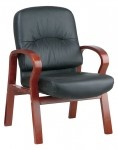 Office Star Leather Visitors Chair with Cherry Finish Wood Base and Arms