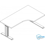 "NewHeights�  Custom 24""D x 42""W x 72""L L-Shaped Corner Height Adjustable Desk (RA-244272NHPLCT) **Made in the USA**"