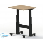 NewHeights� Mobile Sit To Stand Desk on Locking Casters w/ Push Button Height Adjustment (RA-24XXNHWTF-C) **Made in the USA**